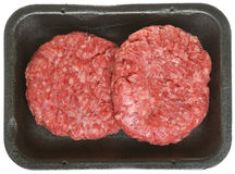 Pack of Raw Beef Burgers or Patties Stock Photos