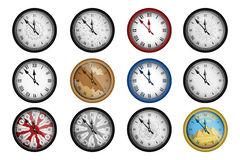 Pack of 12 realistic vintage clocks isolated on white Stock Image