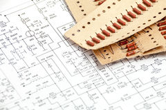 Pack of resistors. On circuit diagram Royalty Free Stock Photo