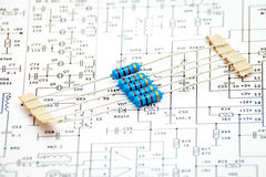 Pack of resistors. On circuit diagram Royalty Free Stock Photography