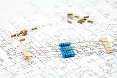Pack of resistors. On circuit diagram Royalty Free Stock Image