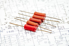 Pack of resistors. On circuit diagram Stock Photo