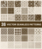 Pack of 36 retro styled brown vector seamless patterns. Abstract, vintage, technology and geometric. Vector illustration Stock Image