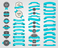Pack Ribbons, Tags and Shield Vector Design Stock Photography