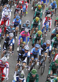 Pack of riders during Cycling race vertical shot Stock Images