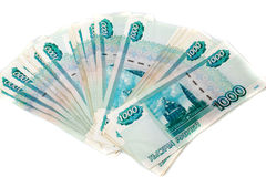 Pack of russian money isolated Stock Photos