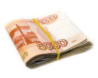 Pack of russian money isolated Stock Photo