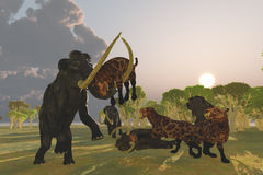 Mammoth and Saber Tooth Cat Royalty Free Stock Photos