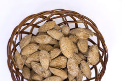 Pack of salted almonds snack Royalty Free Stock Photos