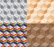Pack of seamless pattern of 3D box. 4 seamless patterns of 3D box with swatch in eps Royalty Free Stock Images