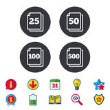 In pack sheets icons. Quantity per package. Royalty Free Stock Photography