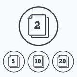 In pack sheets icons. Quantity per package. In pack sheets icons. Quantity per package symbols. 2, 5, 10 and 20 paper units in the pack signs. Icons in circles Royalty Free Stock Photos