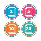 In pack sheets icons. Quantity per package. In pack sheets icons. Quantity per package symbols. 2, 5, 10 and 20 paper units in the pack signs. Colored circle Stock Image