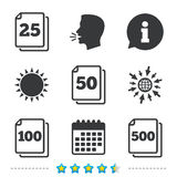 In pack sheets icons. Quantity per package. In pack sheets icons. Quantity per package symbols. 25, 50, 100 and 500 paper units in the pack signs. Information stock illustration