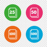 In pack sheets icons. Quantity per package. Stock Photography