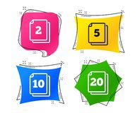 In pack sheets icons. Quantity per package. Vector. In pack sheets icons. Quantity per package symbols. 2, 5, 10 and 20 paper units in the pack signs. Geometric stock illustration