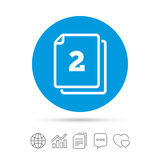 In pack 2 sheets sign icon. 2 papers symbol. Royalty Free Stock Images