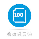 In pack 100 sheets sign icon. 100 papers symbol. Stock Images