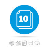 In pack 10 sheets sign icon. 10 papers symbol. Stock Photo