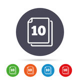 In pack 10 sheets sign icon. 10 papers symbol. Royalty Free Stock Image