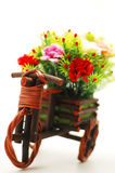 Pack shot. Flower in the basket on the bicycle Stock Photos