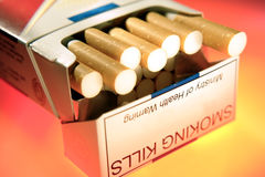 Pack of smokes. Close-up of pack of cigarettes Stock Photo