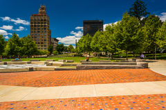 Pack Square Park and highrises in Asheville, North Carolina. Stock Photos