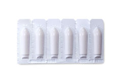 Pack of suppositories with clipping path. Pack of suppositiories on white background with clipping path stock photos