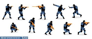 A pack of swat officers silhouette  set. Illustration perfect for any design purpose Stock Image
