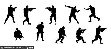 A pack of swat officers silhouette vector set.  Royalty Free Stock Photo