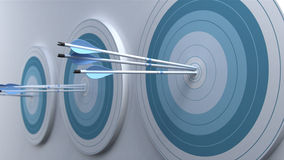 3 pack of targets with Arrows that hit in center. Royalty Free Stock Image