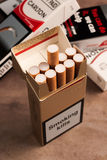 Pack of Ten Cigarettes Stock Photos