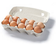 Pack of ten fresh eggs isolated Stock Photography