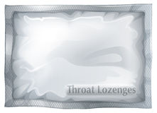A pack of throat lozenges. Illustration of a pack of throat lozenges on a white background Stock Photos