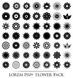 Pack of 49 transparent light black abstract geometric flowers logo template. Vector illustration Stock Photos
