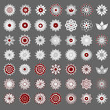 Pack of 49 transparent light red and white abstract geometric flowers logo template on grey background. Business abstract icon. Us Stock Photos