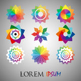 Pack of 9 transparent rainbow abstract geometric flowers logo template Stock Image