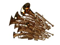Pack of trumpets - noise symbol. 3d render with clipping path Stock Photo
