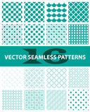Pack of 16 turquoise vector seamless patterns. Abstract, vintage, technology and geometric. Vector illustration Stock Images