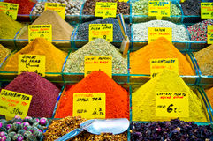 Variety spices on Istanbul market, Turkey Stock Photo