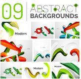Pack of vector abstract backgrounds. Smooth elegant unusual waves in different colors. Business or technology wallpaper, identity element Stock Photos