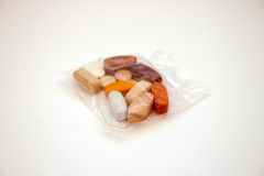 Pack of vitamins. Clear bag with  vitamins minerals and aminoacids Stock Image
