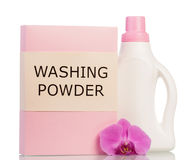 Pack washing powder, liquid bottle and orchid flower isolated. Royalty Free Stock Photos