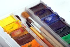 A pack of watercolour paint Stock Images