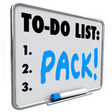 Pack Word To Do List Dry Erase Board Prepare Move Trip Travel. Pack word on a to-do list written on a dry erase board to remind you to prepare in packing your Royalty Free Stock Image