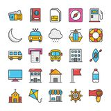 Hotel and Travel Colored Vector Icons Set 8. Pack your bag and get ready for holiday and travelling. Pull that Hotel and Travel Vector Icons pack into your Stock Images