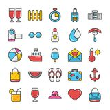 Hotel and Travel Colored Vector Icons Set 6. Pack your bag and get ready for holiday and travelling. Pull that Hotel and Travel Vector Icons pack into your Royalty Free Stock Photo