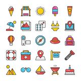 Hotel and Travel Colored Vector Icons Set 4. Pack your bag and get ready for holiday and travelling. Pull that Hotel and Travel Vector Icons pack into your Royalty Free Stock Images