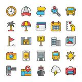 Hotel and Travel Colored Vector Icons Set 7. Pack your bag and get ready for holiday and travelling. Pull that Hotel and Travel Vector Icons pack into your Royalty Free Stock Photos