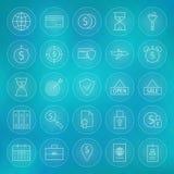Packa ihop linjen symbolsuppsättning för cirkel för livsstil för finansaffärspengar Arkivfoton